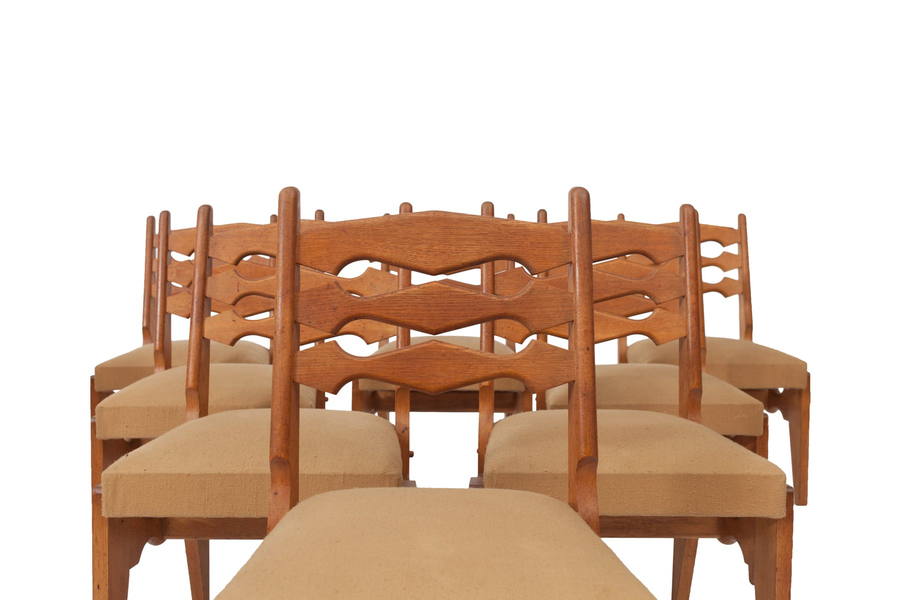 Solid Oak Dining Chairs by Guillerme et Chambron Set of 9 for