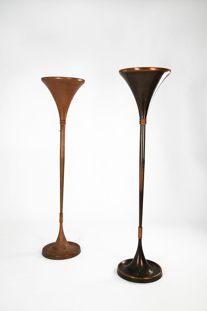 Copper floor lamps 1930s set of 2 for sale at pamono for 1930s floor lamp