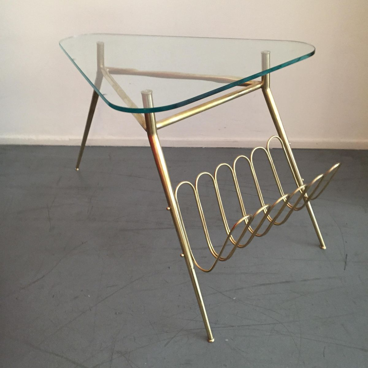 Mid Century Italian Coffee Table with Magazine Holder for sale at