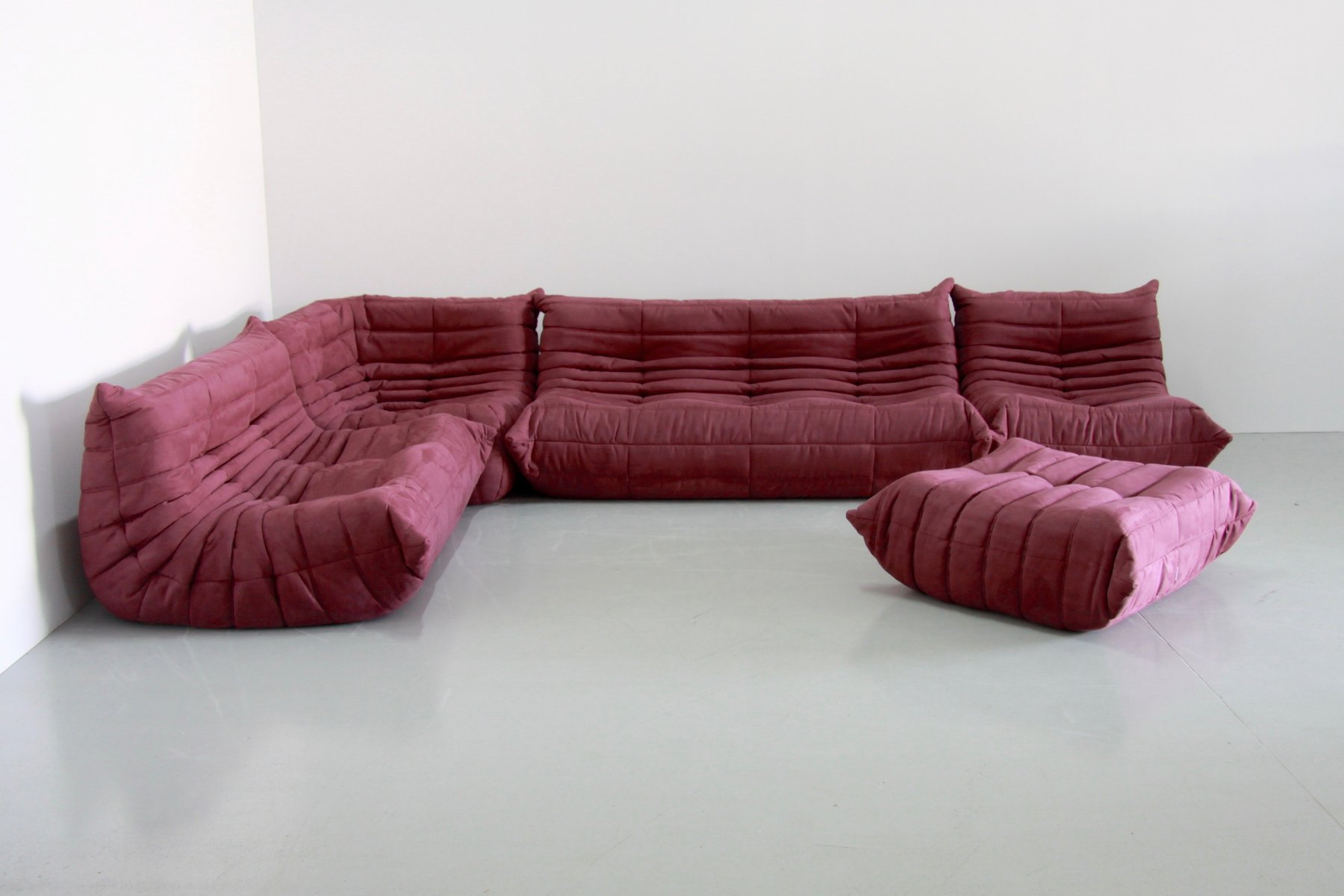 vintage aubergine togo living room set by michel ducaroy for ligne roset