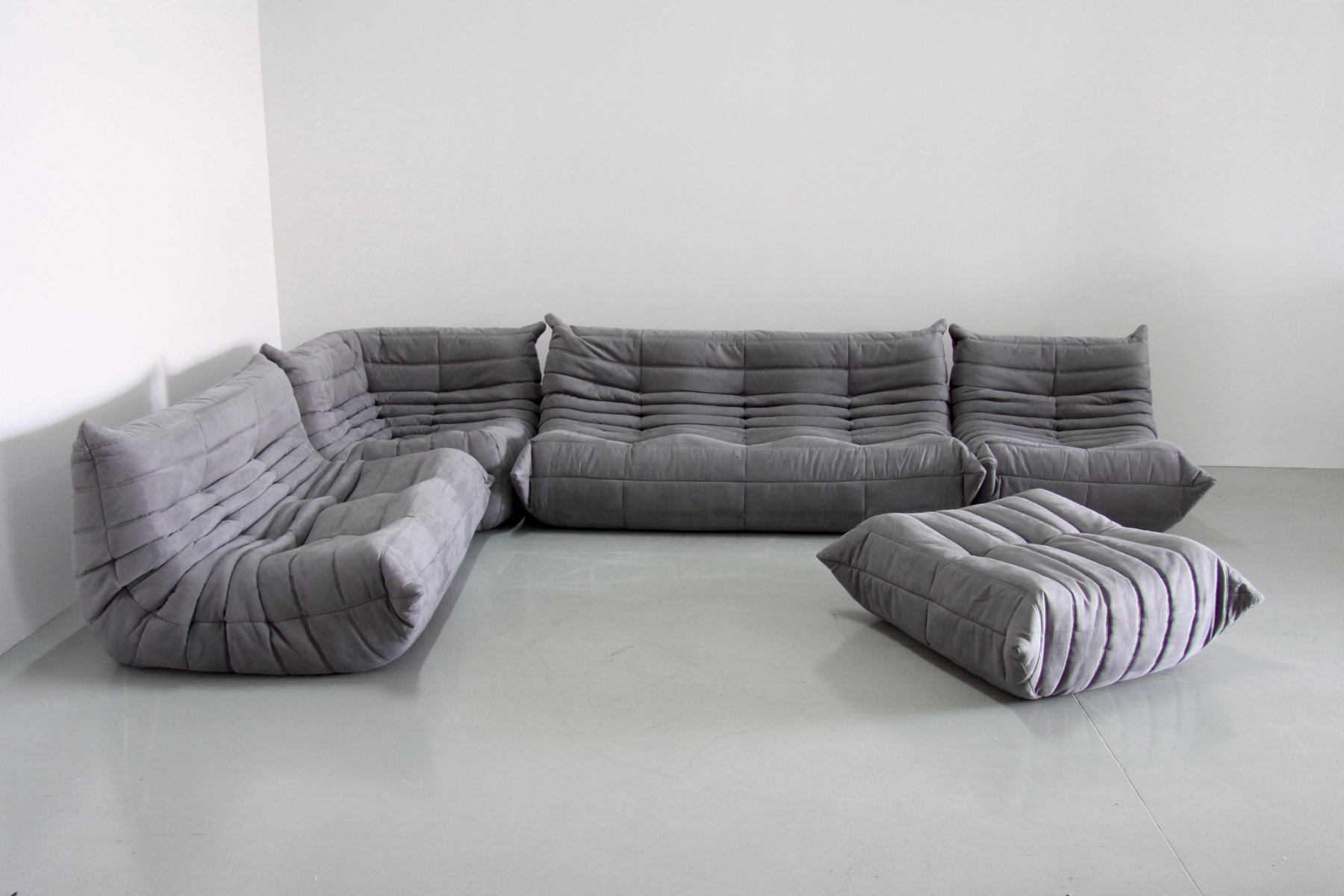 grey microfibre togo sofa set by michel ducaroy for ligne. Black Bedroom Furniture Sets. Home Design Ideas