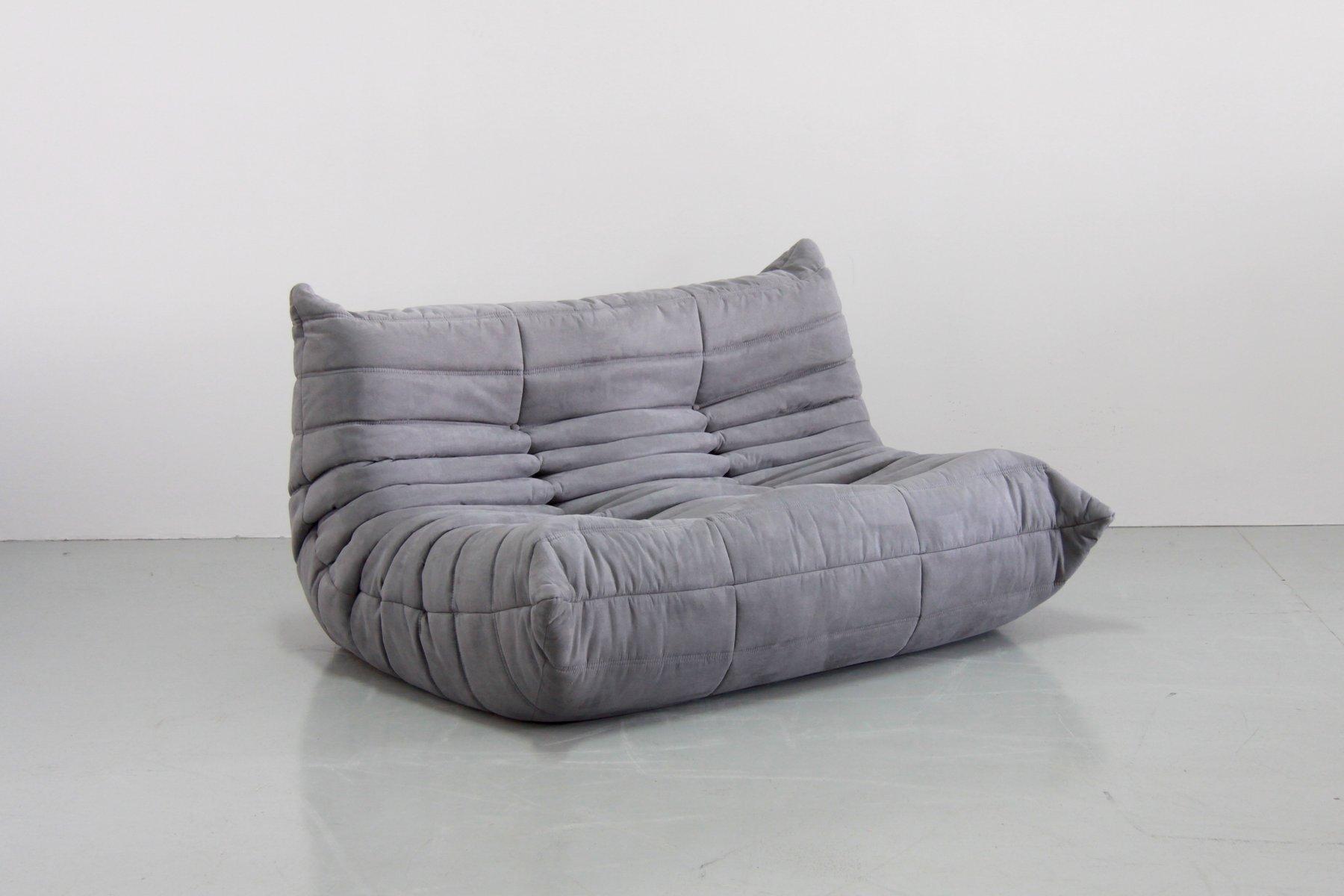 grey microfibre togo sofa set by michel ducaroy for ligne roset 1970s set of 5 for sale at pamono. Black Bedroom Furniture Sets. Home Design Ideas