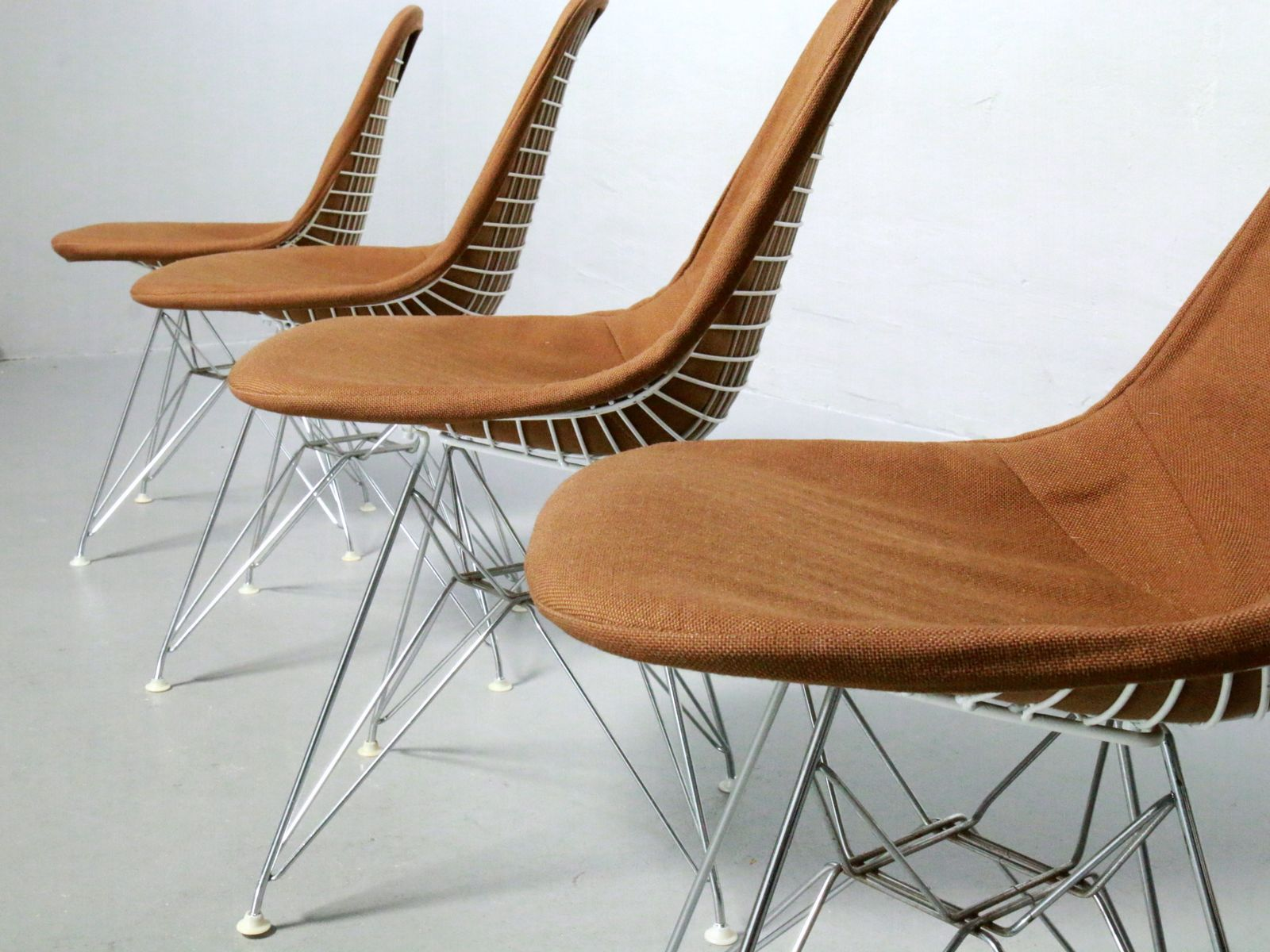 Vintage Wire Chairs by Charles and Ray Eames for Contura Set of 4