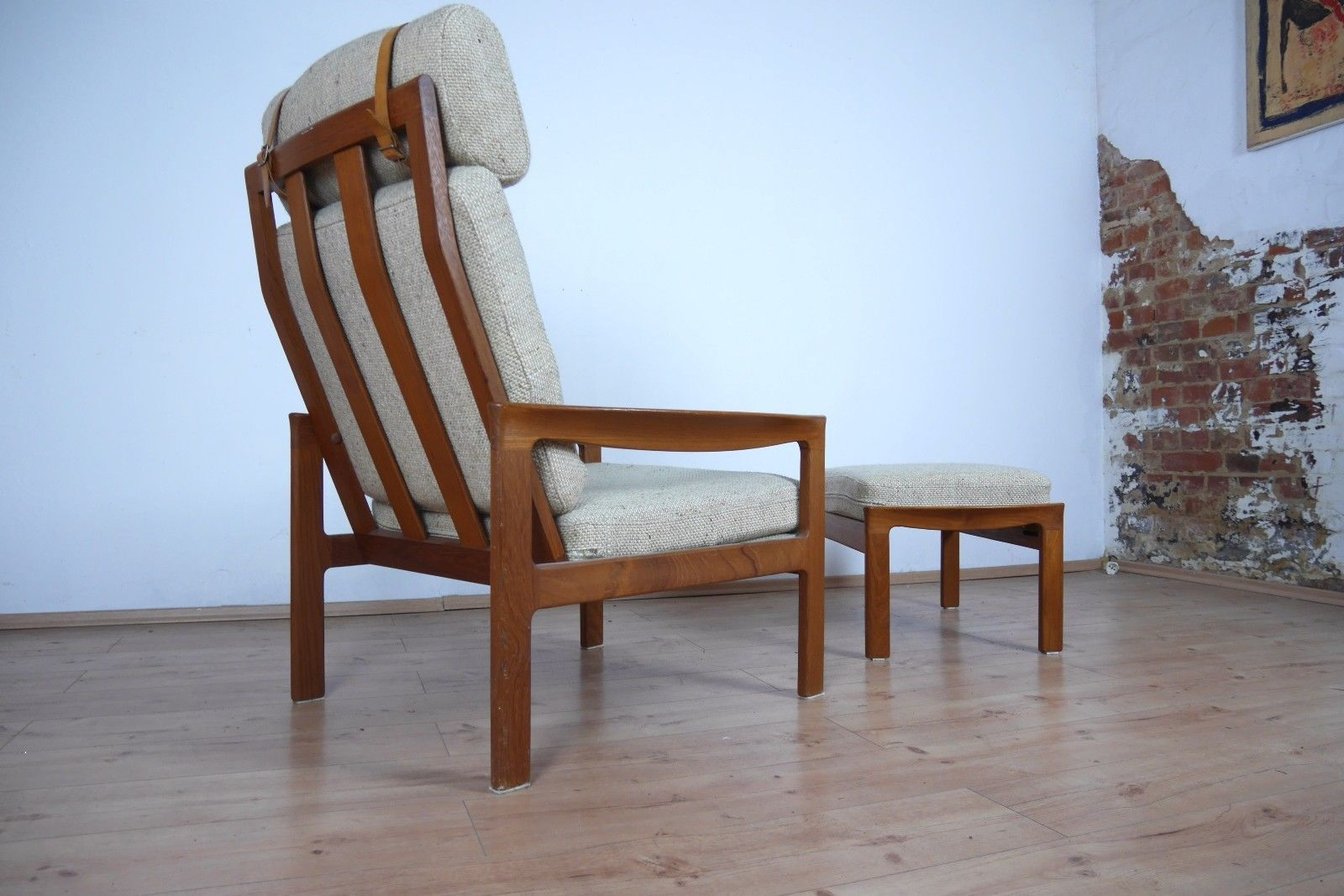 danish teak lounge chair and ottoman 1970s for sale at pamono. Black Bedroom Furniture Sets. Home Design Ideas