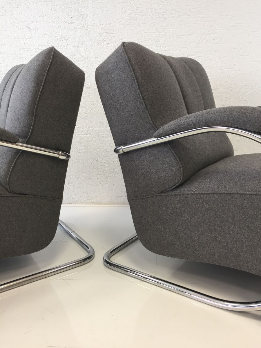 Vintage Tubular Steel Armchairs Set Of 2 For Sale At Pamono