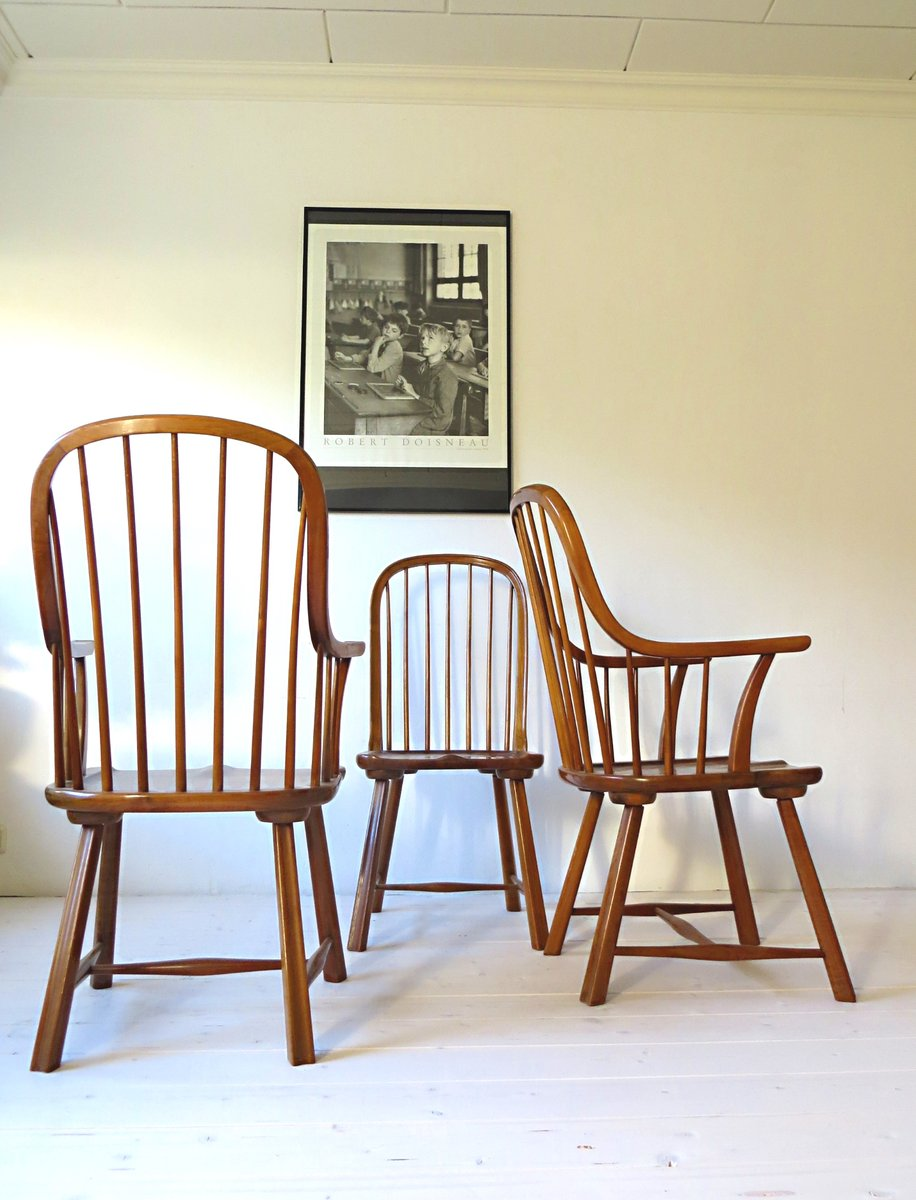 skandinavische buchenholz st hle 1950er 3er set bei pamono kaufen. Black Bedroom Furniture Sets. Home Design Ideas