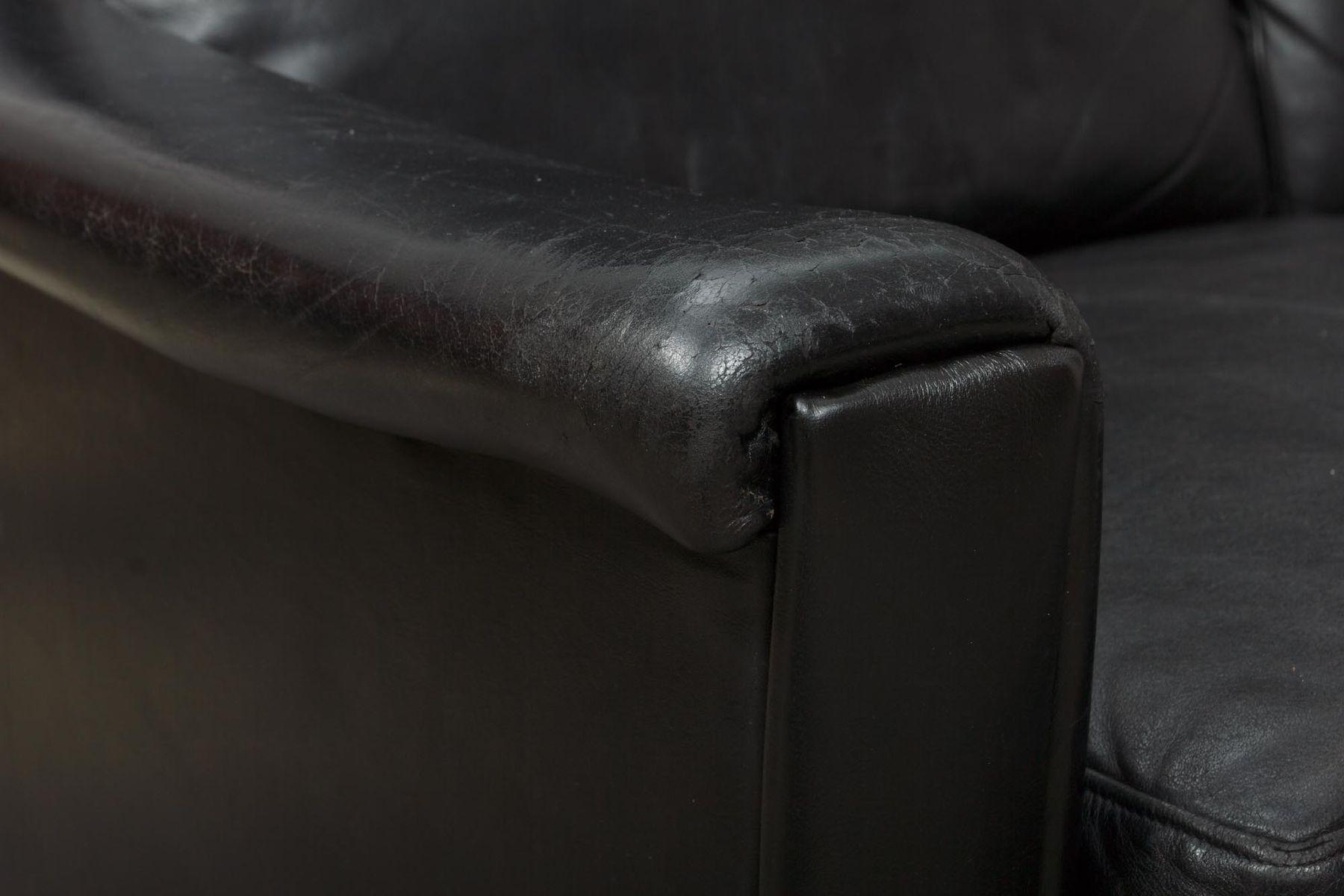 schwarzes vier sitzer ledersofa 1960er bei pamono kaufen. Black Bedroom Furniture Sets. Home Design Ideas