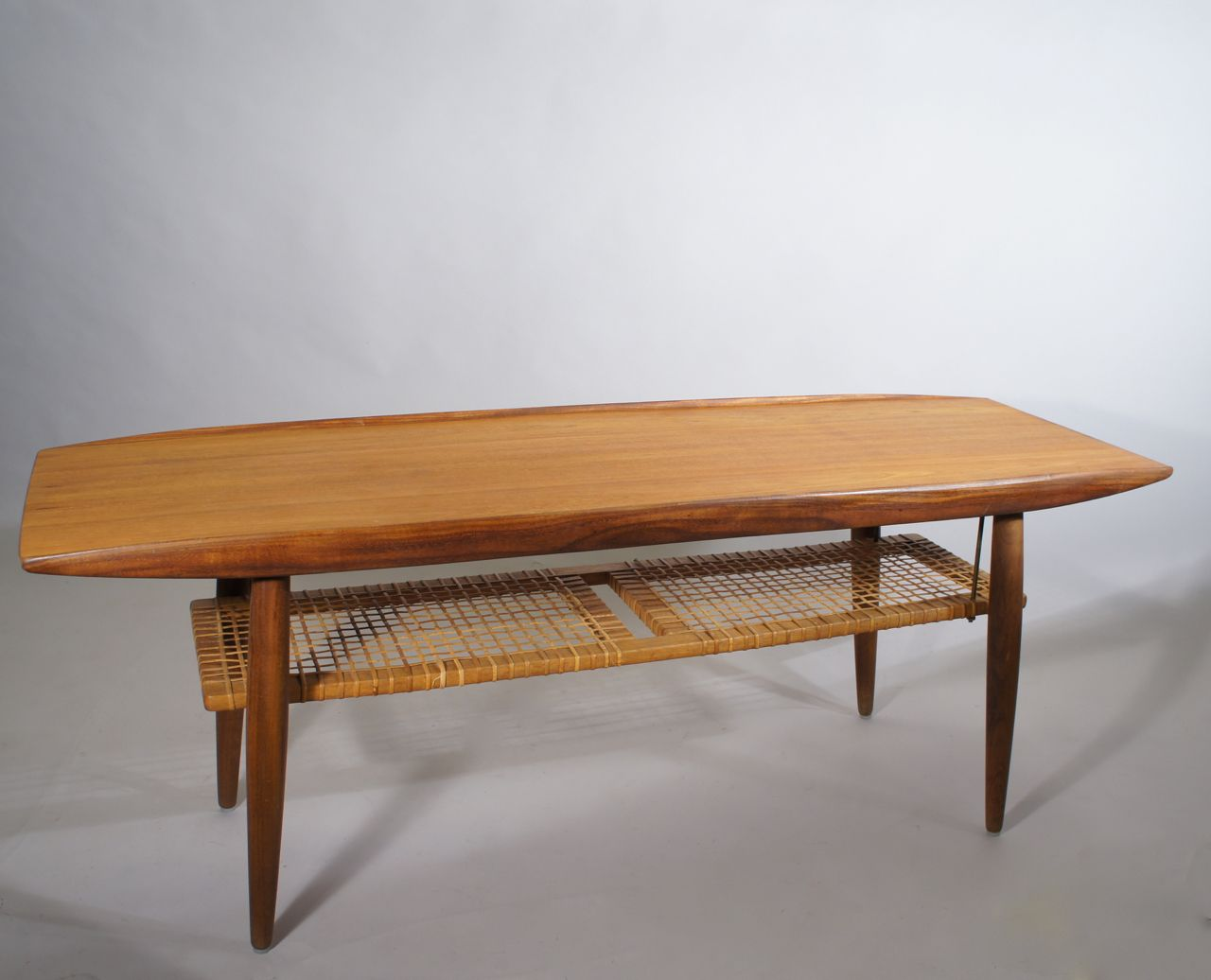 Mid century coffee table in teak and rattan for sale at pamono mid century coffee table in teak and rattan geotapseo Choice Image