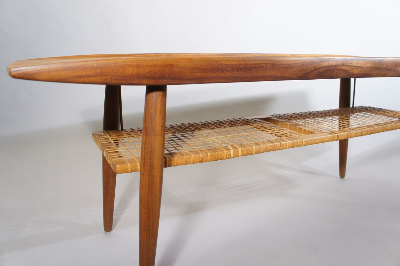 Mid century coffee table in teak and rattan for sale at pamono mid century coffee table in teak and rattan 3 52800 geotapseo Choice Image