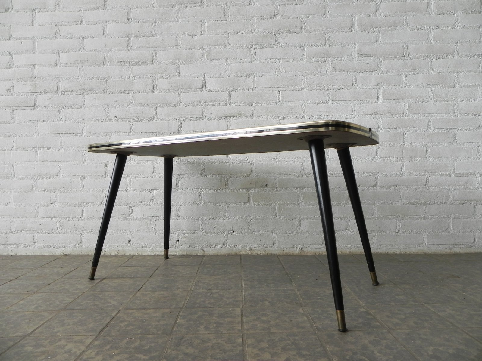 Mid Century Coffee Table with Glass Top for sale at Pamono