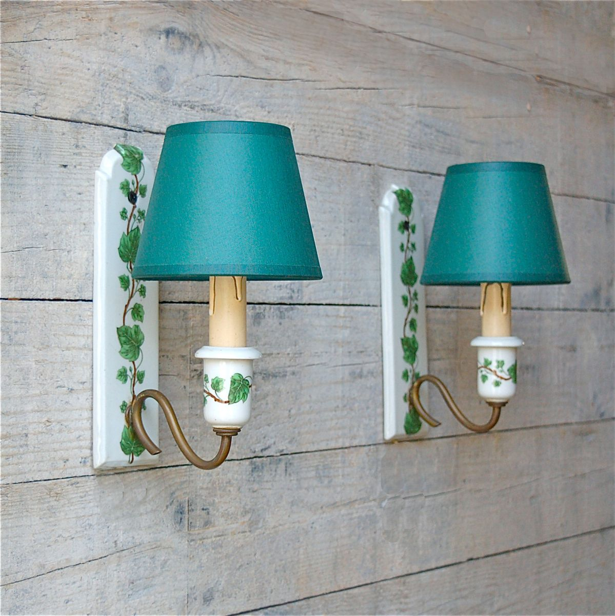 French Ceramic Wall Lights : French Porcelain Wall Lights, 1950s, Set of 2 for sale at Pamono