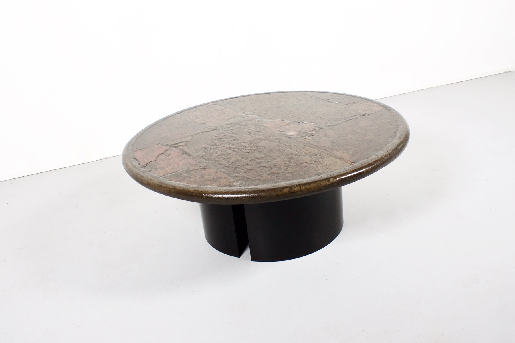 Amazing Agate, Slate, U0026 Brass Coffee Table By Paul Kingma, 1970s