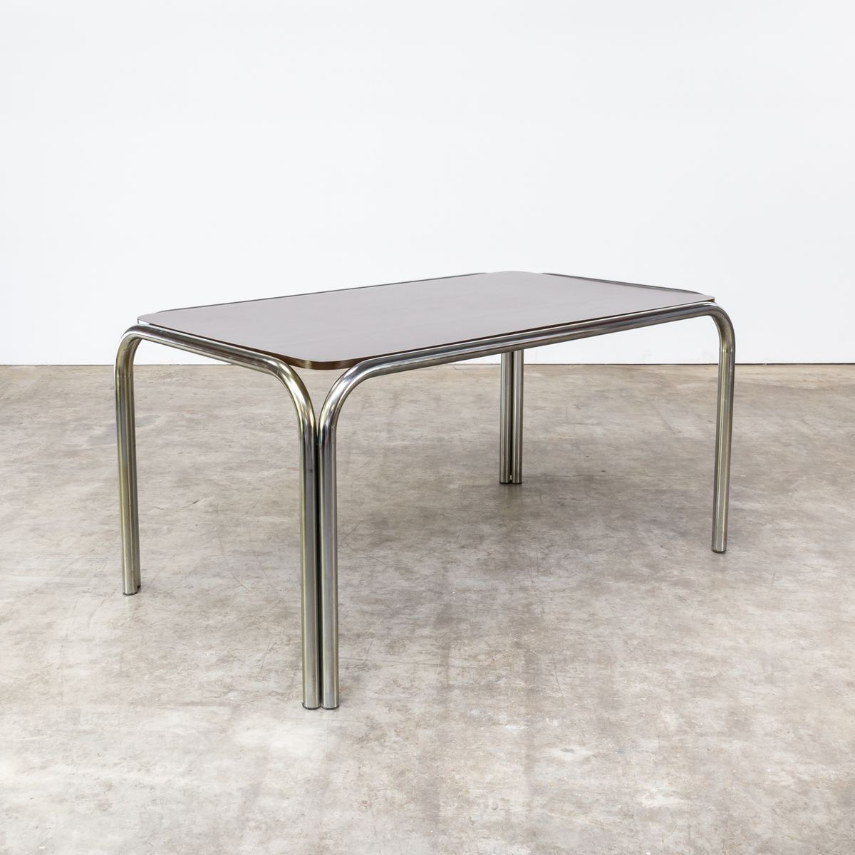 Dining table with tubular metal frame 1970s for sale at for Dining table frame