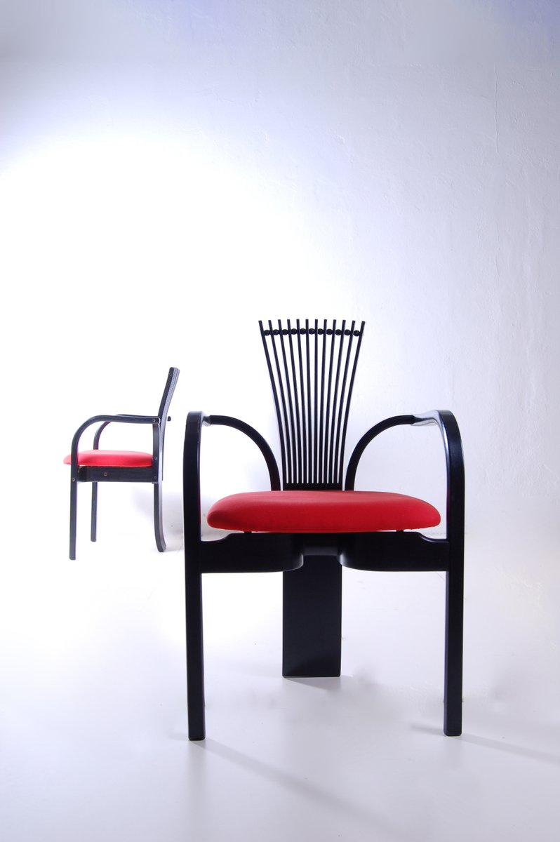 Vintage Black Red Dining Chairs Set of 2 for sale at Pamono