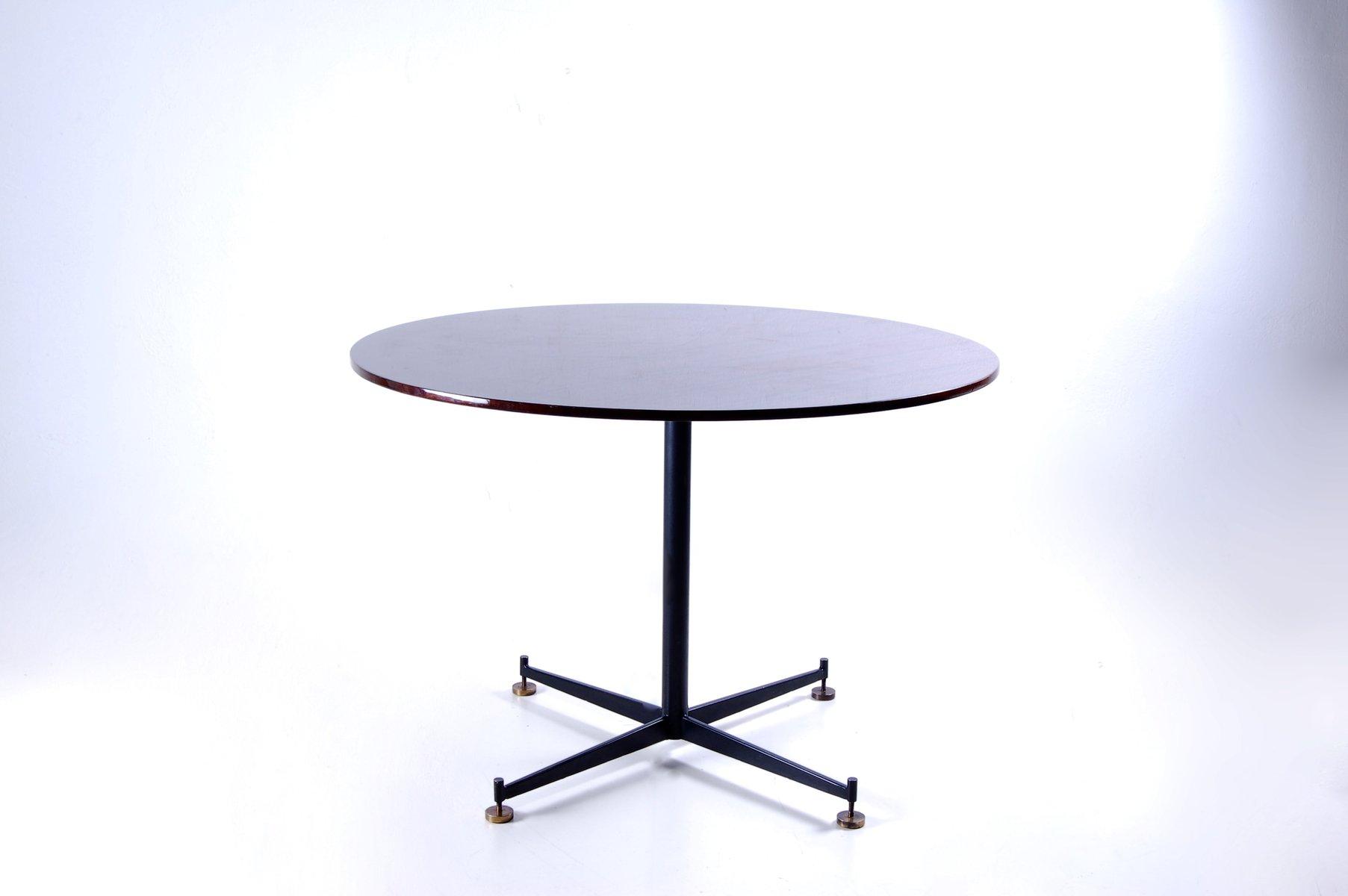 runder tisch aus eisen und holz 1950er bei pamono kaufen. Black Bedroom Furniture Sets. Home Design Ideas