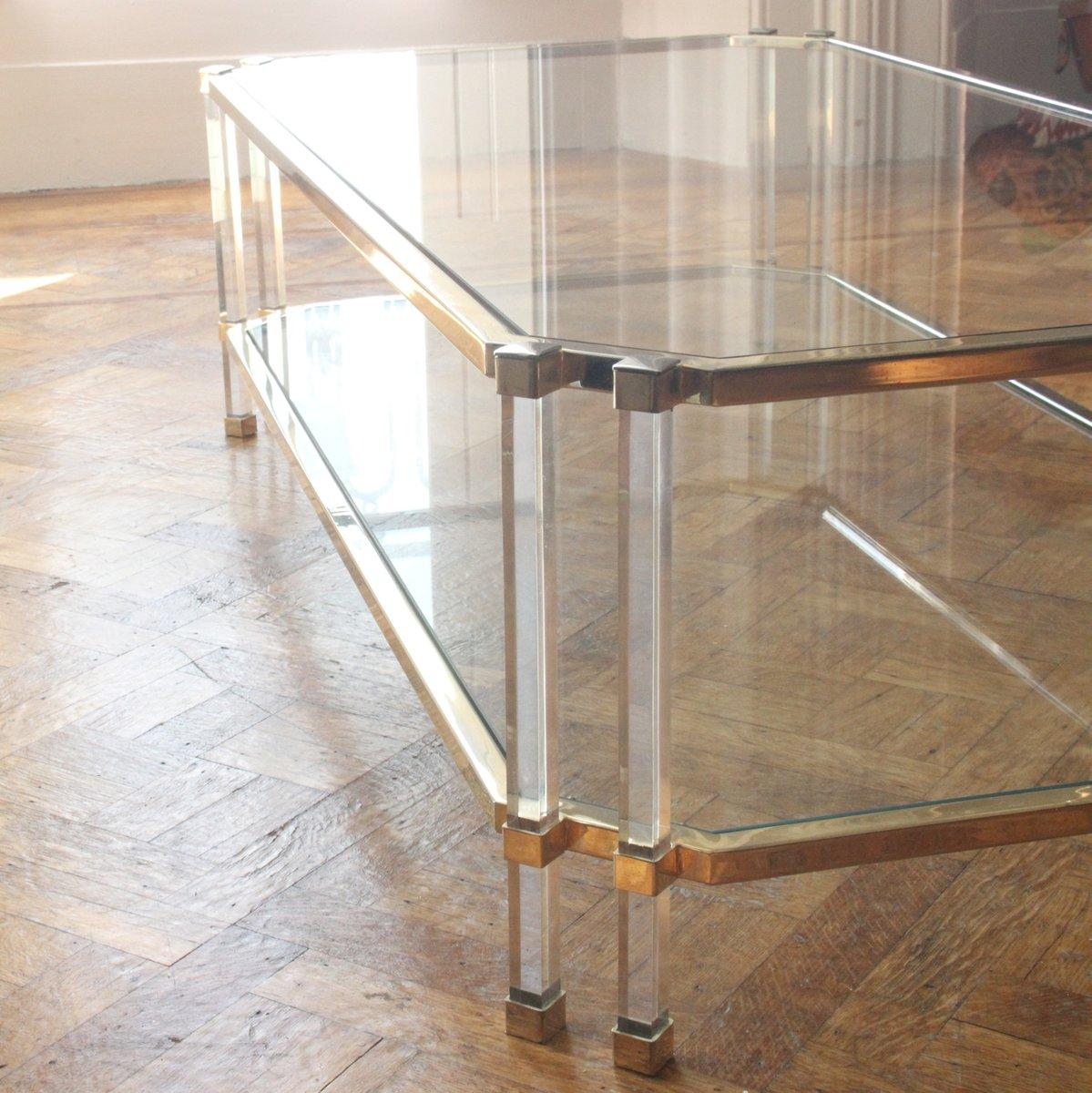 Vintage Large Gilt Metal U0026 Glass Coffee Table