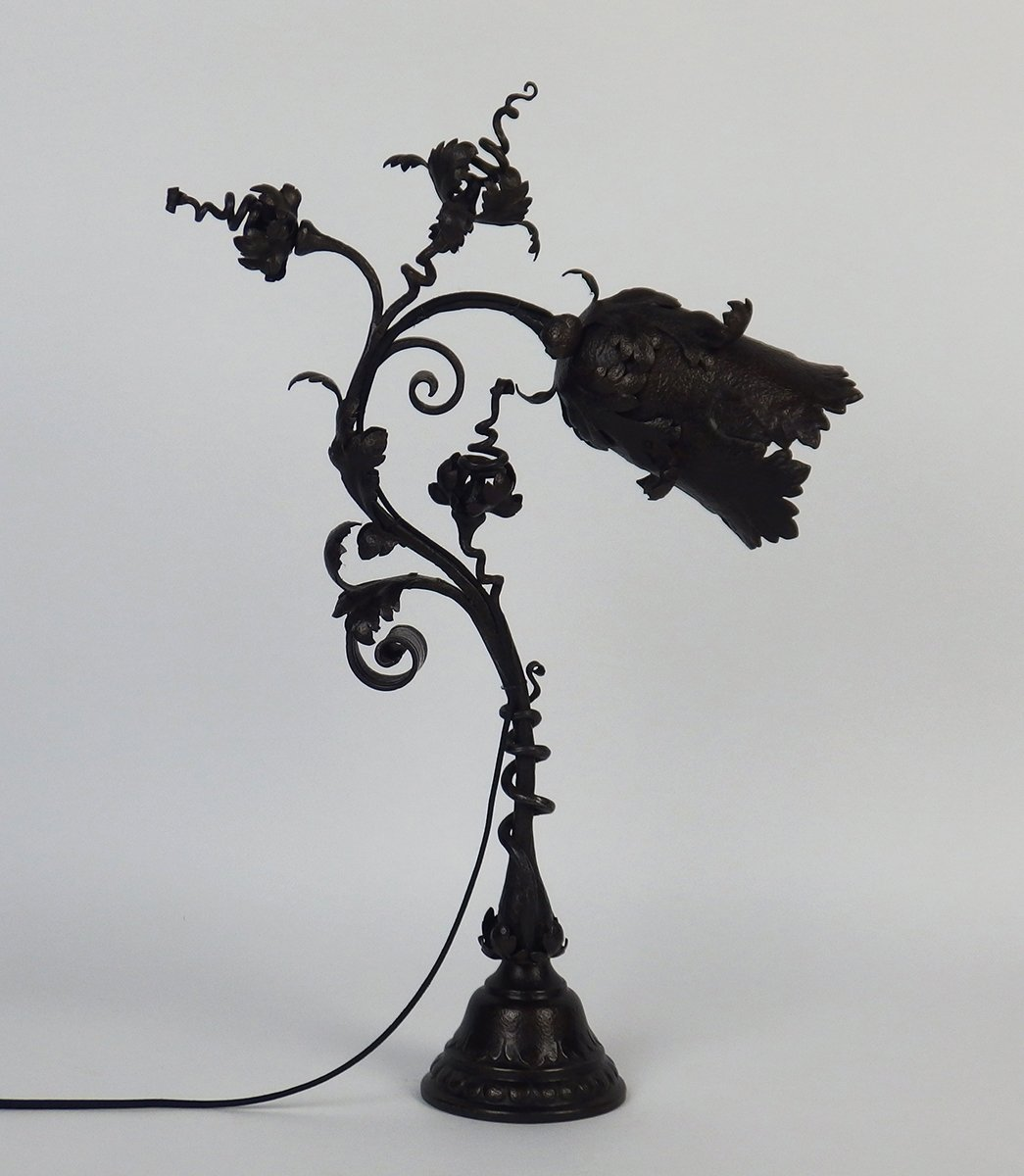Antique art nouveau wrought iron table lamp by f marrol for sale antique art nouveau wrought iron table lamp by f marrol for sale at pamono geotapseo Image collections