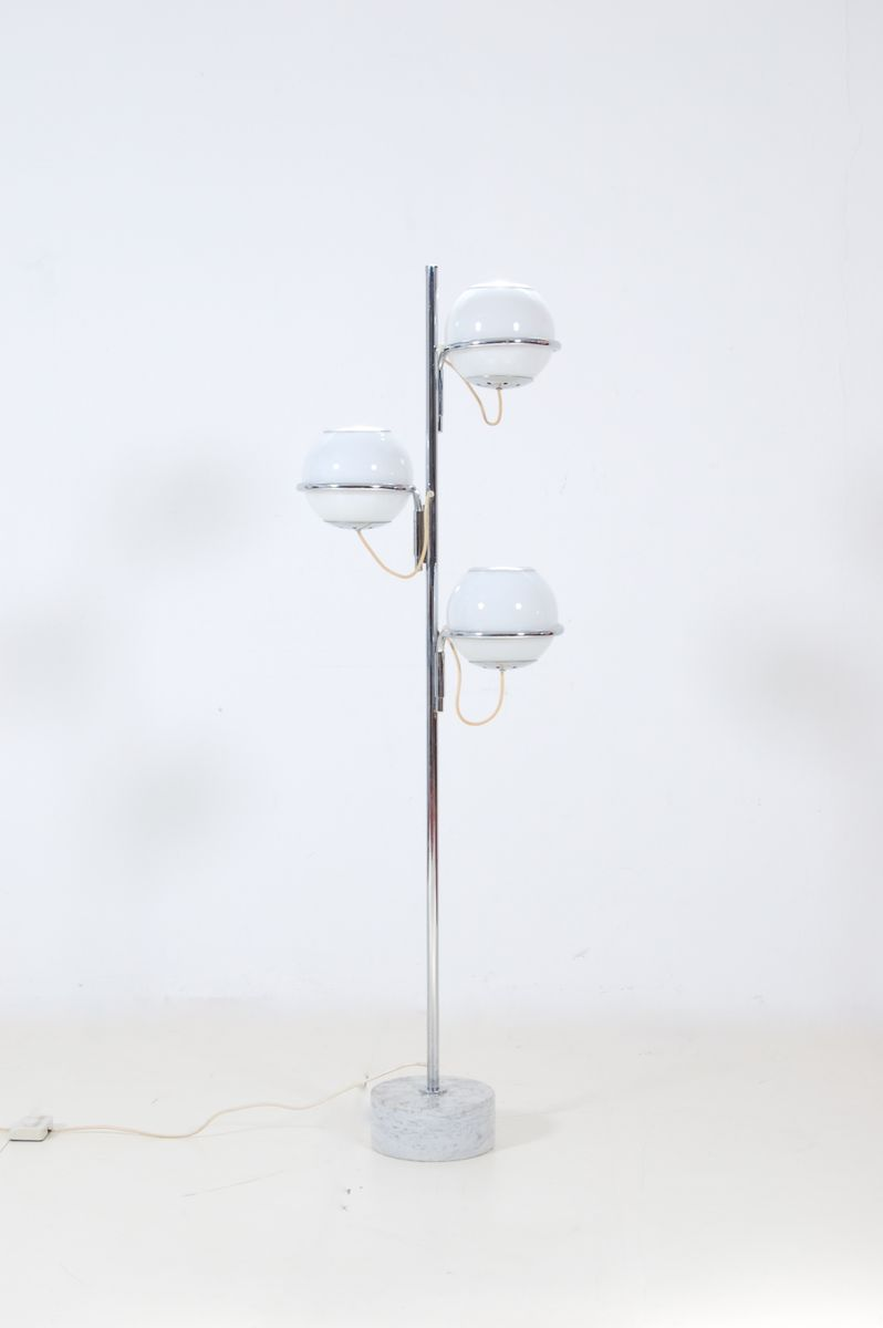 Vintage Three Light Floor Lamp With Marble Base