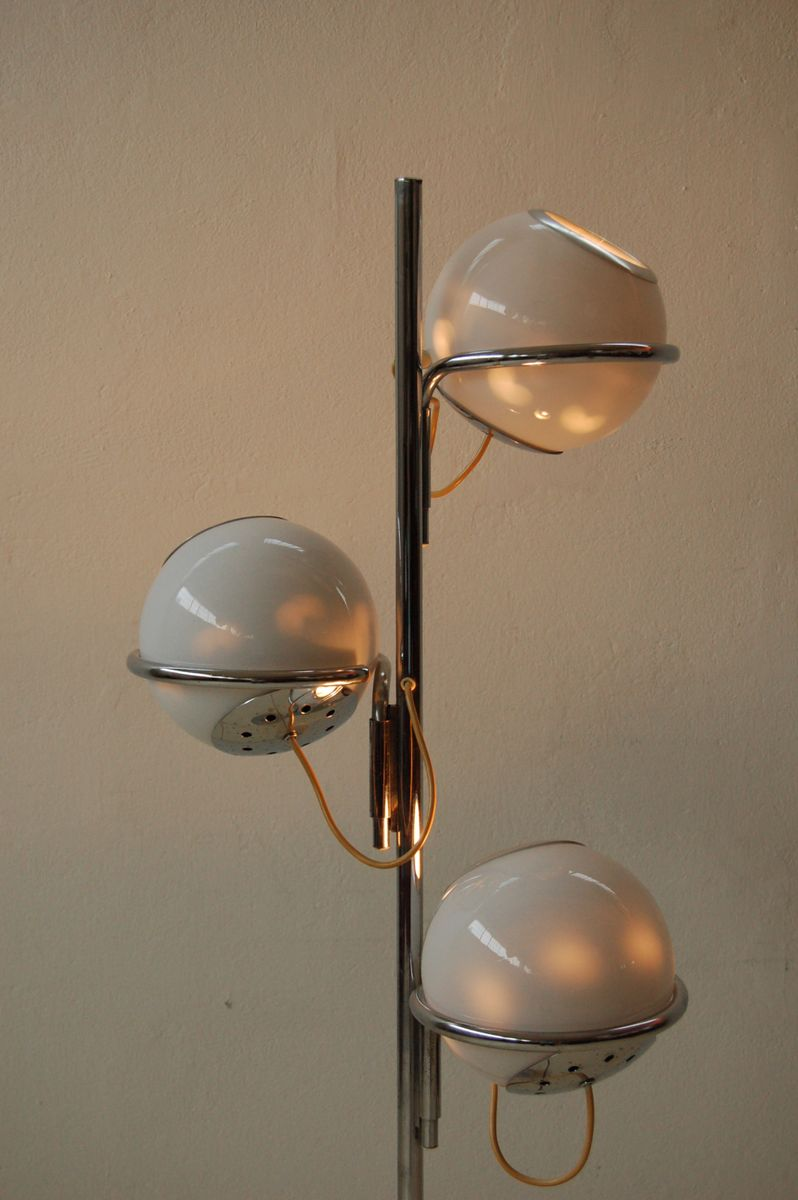 Vintage Three Light Floor Lamp With Marble Base For Sale