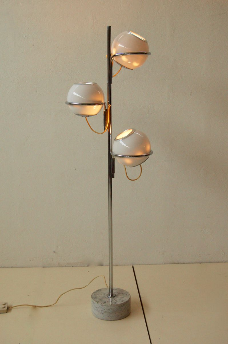 Vintage three light floor lamp with marble base for sale for Antique floor lamp with nightlight in base