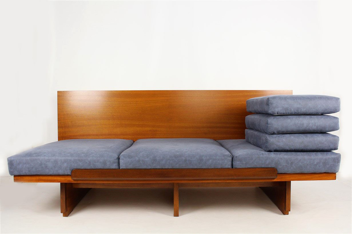 Mahogany veneered sofa bed 1960s for sale at pamono for Sofa bed 60s