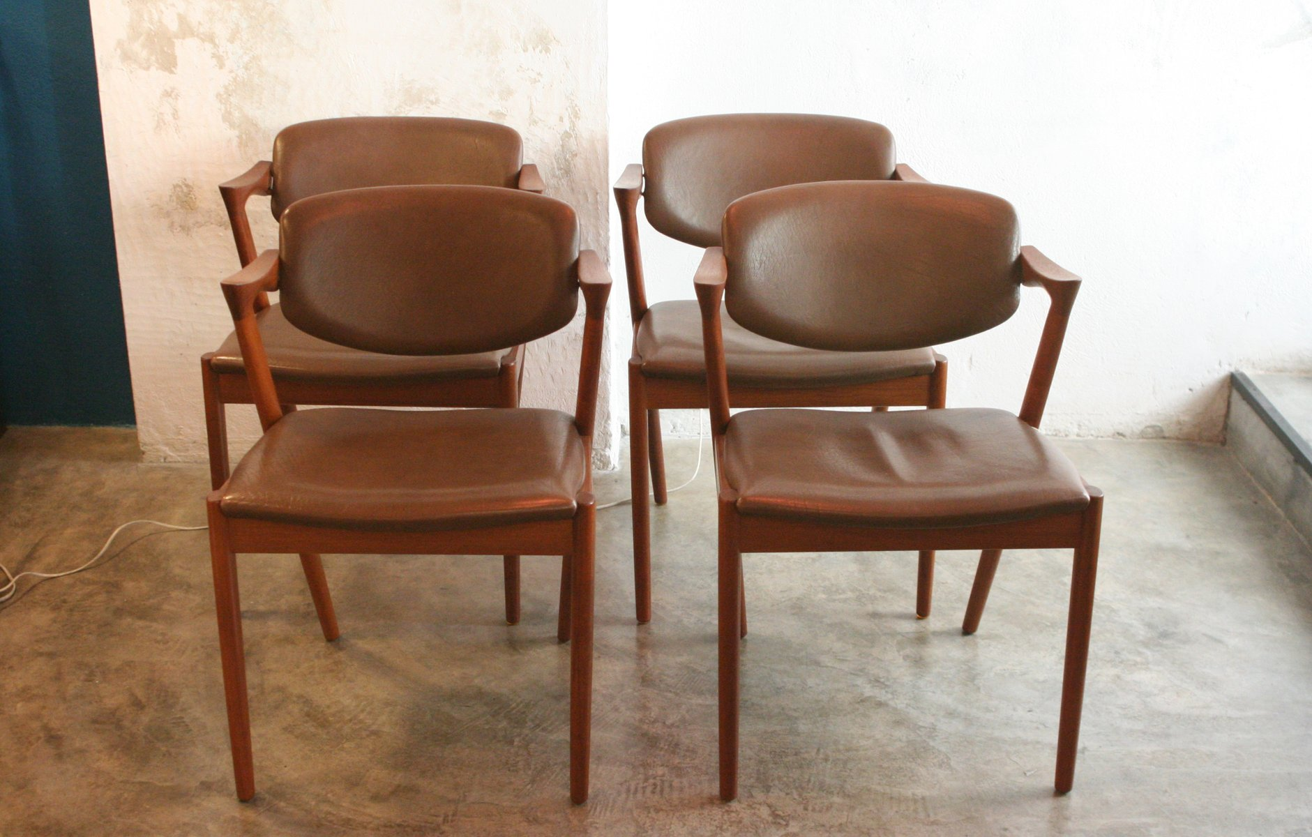 Vintage Model 42 Teak And Leather Chairs By Kai Kristiansen Set Of 4 For Sale At Pamono
