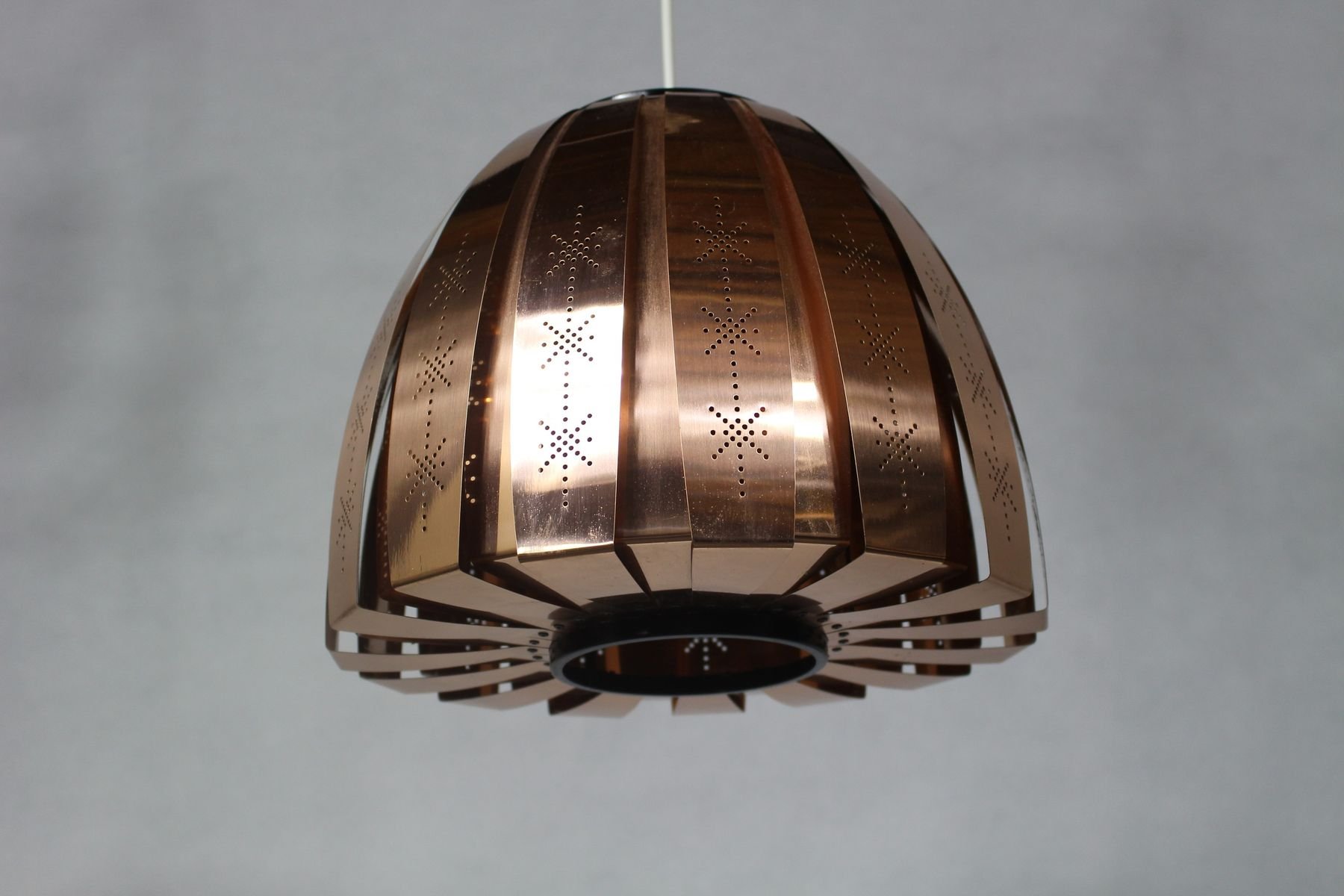 danish copper pendant lamp by werner schou for coronell electro 1960s