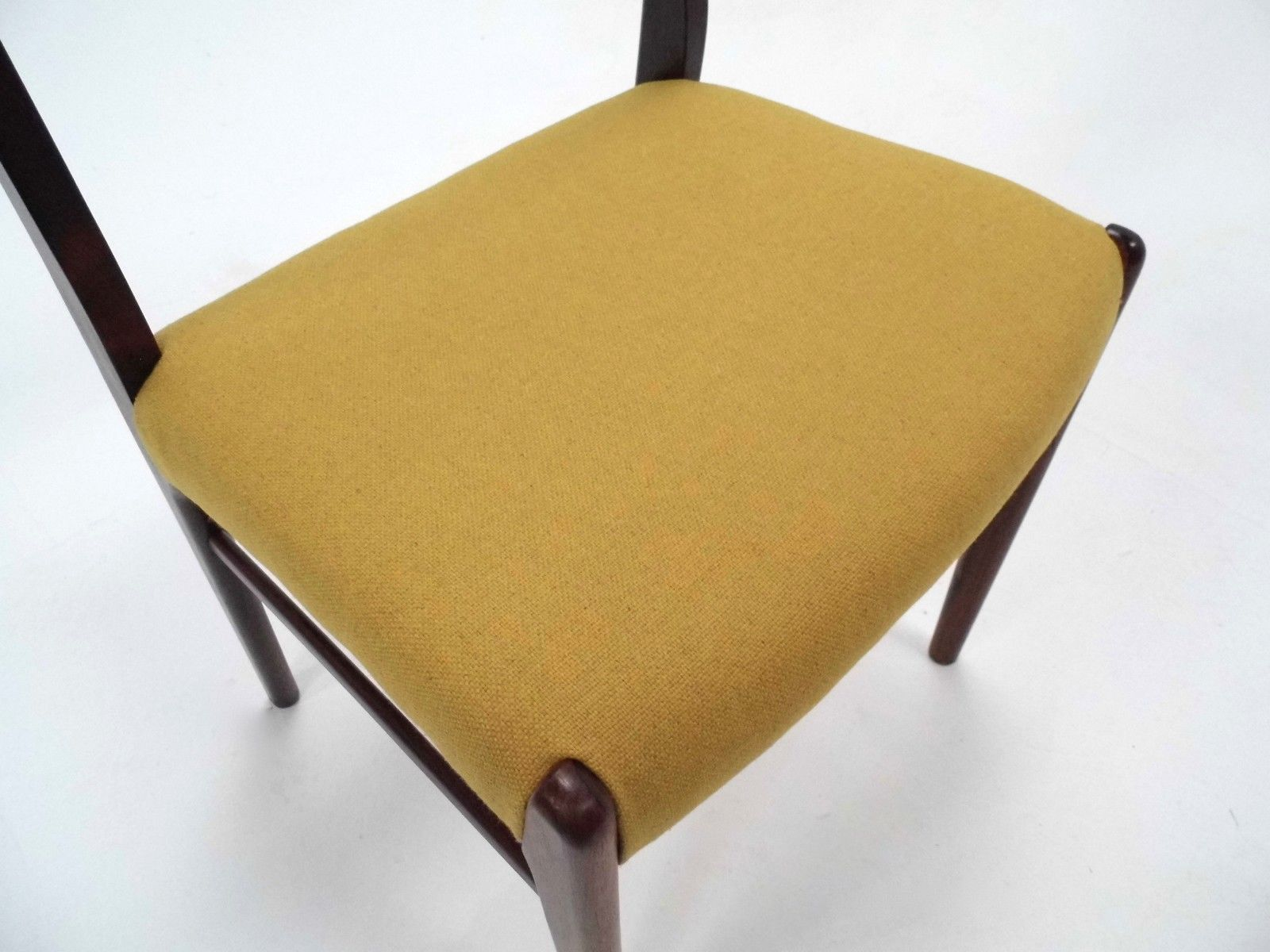 Danish Rosewood & Yellow Wool Dining Chairs 1960s Set of 6 for