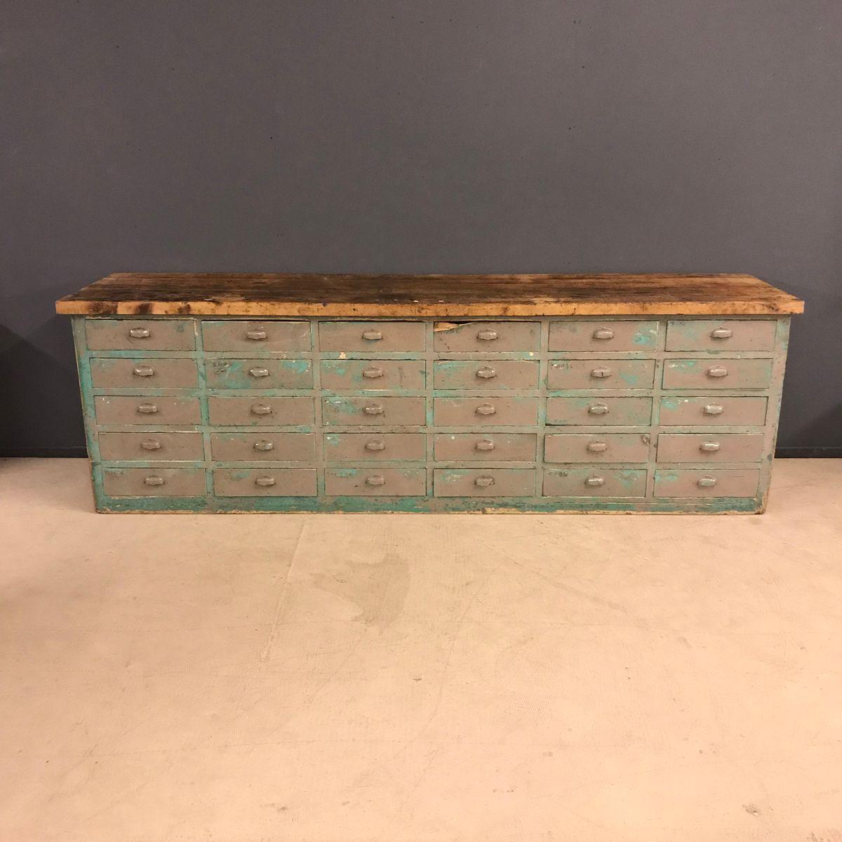 gro er schubladenschrank mit platte aus eiche 1920er bei pamono kaufen. Black Bedroom Furniture Sets. Home Design Ideas