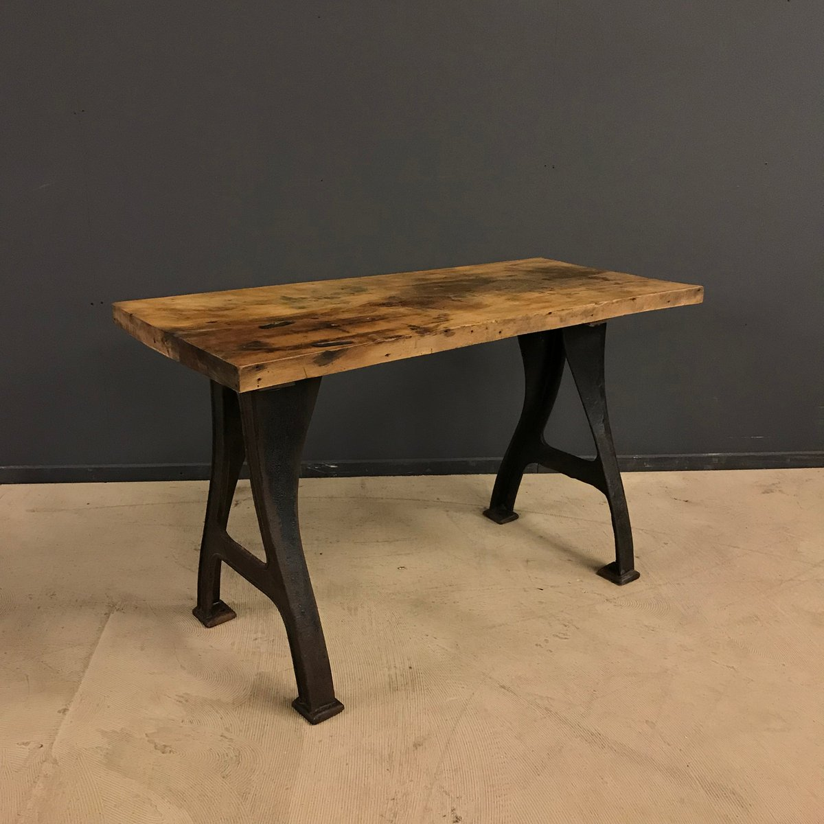 Small Industrial Table With Cast Iron Base, 1920s