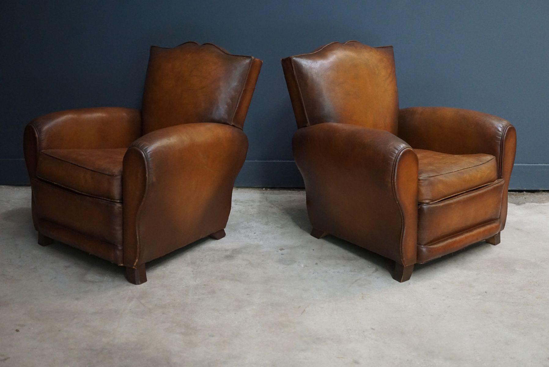 French Cognac Moustache Back Leather Club Chairs 1940s Set of 2