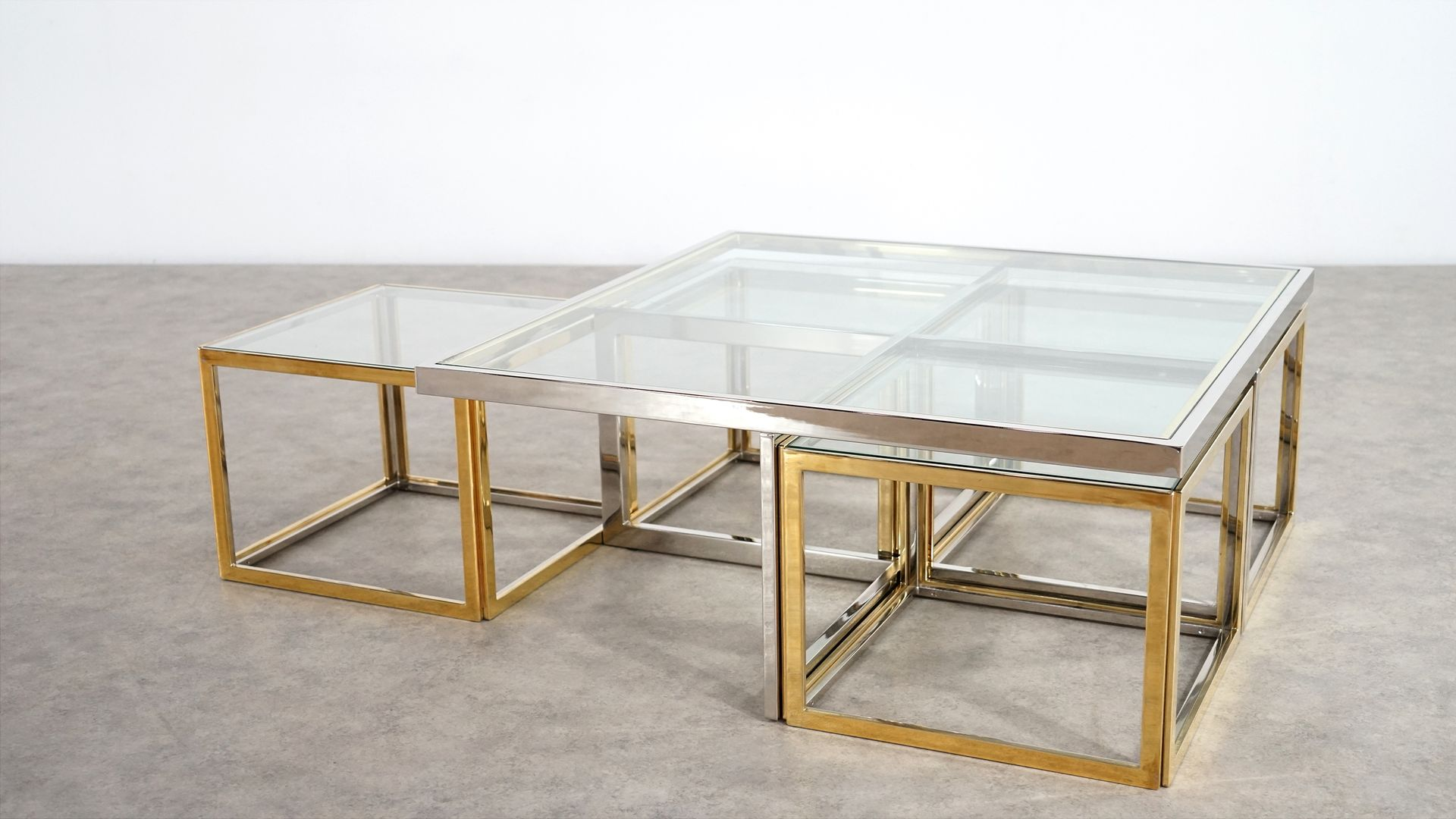 Vintage Coffee Table with Four Nesting Tables by Maison