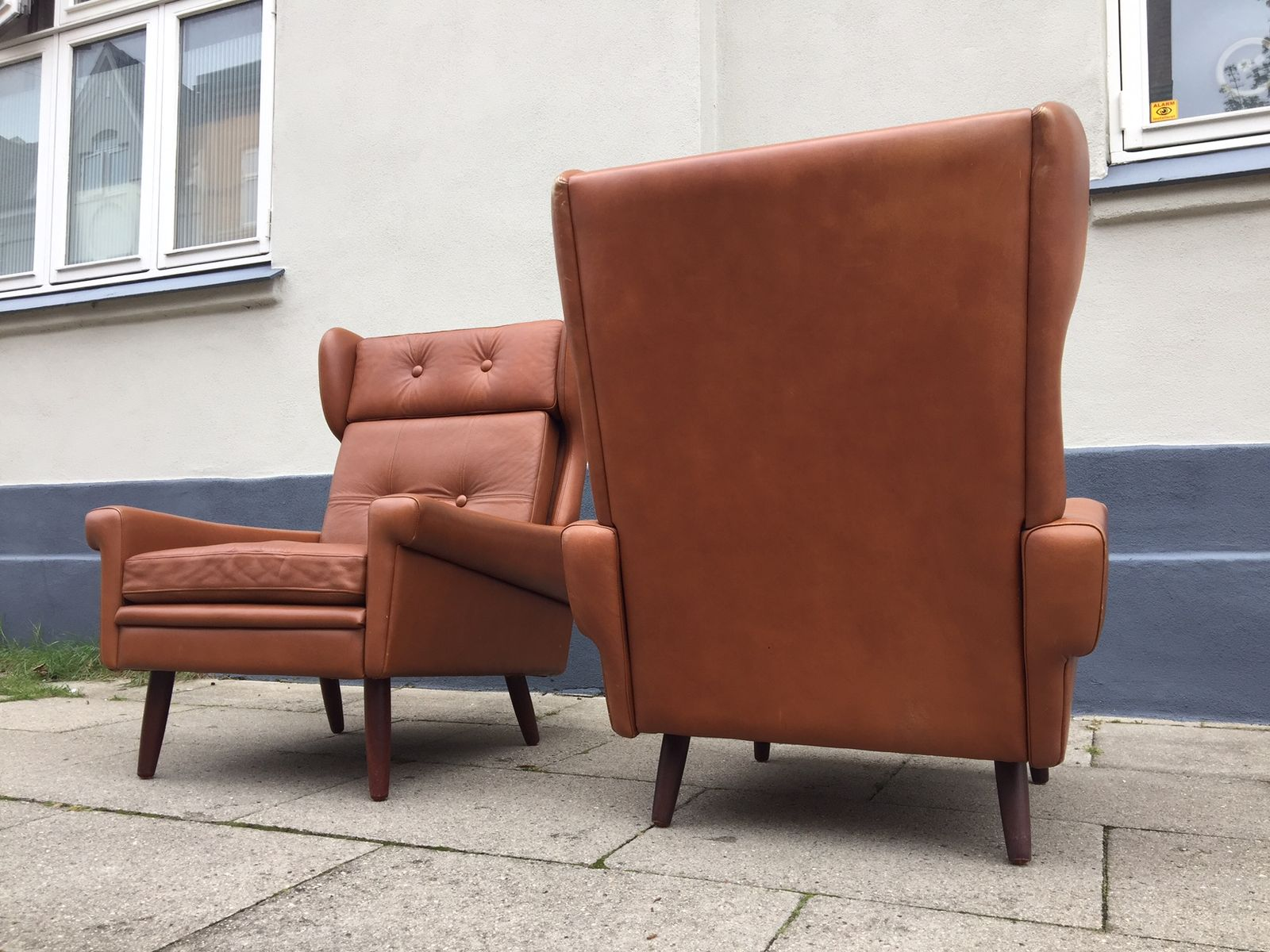 Danish MidCentury Leather Wingback Chairs by Svend Skipper for