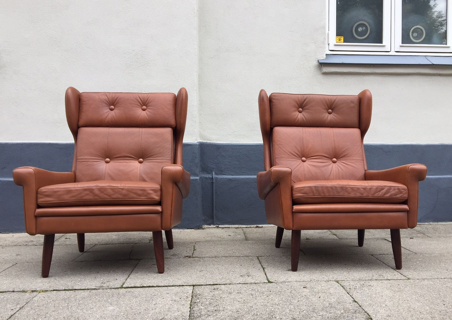Danish Mid Century Leather Wingback Chairs By Svend