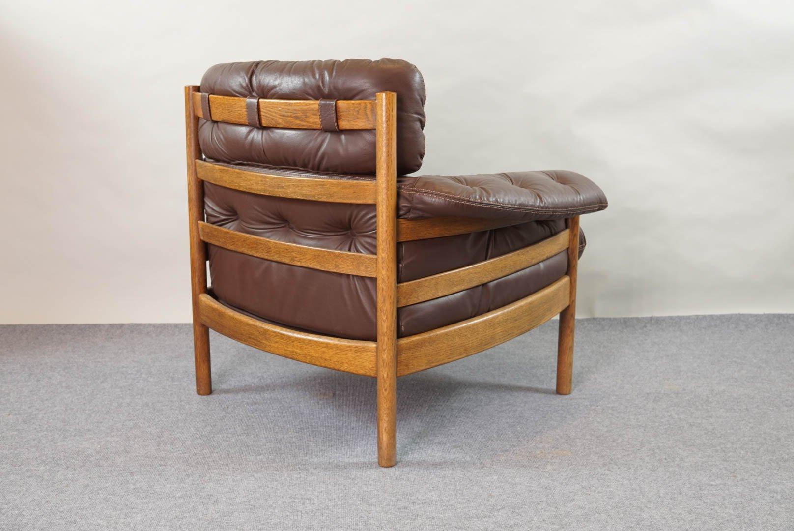 Sessel aus leder und teak von arne norell f r coja 1960er for Sessel aus leder