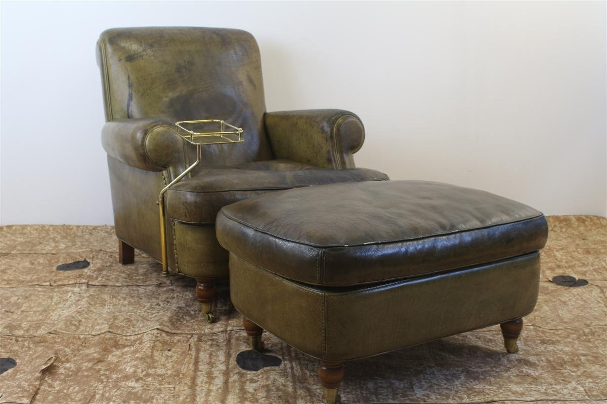 Vintage Club Chair In Green Leather With Pouf And Smoker