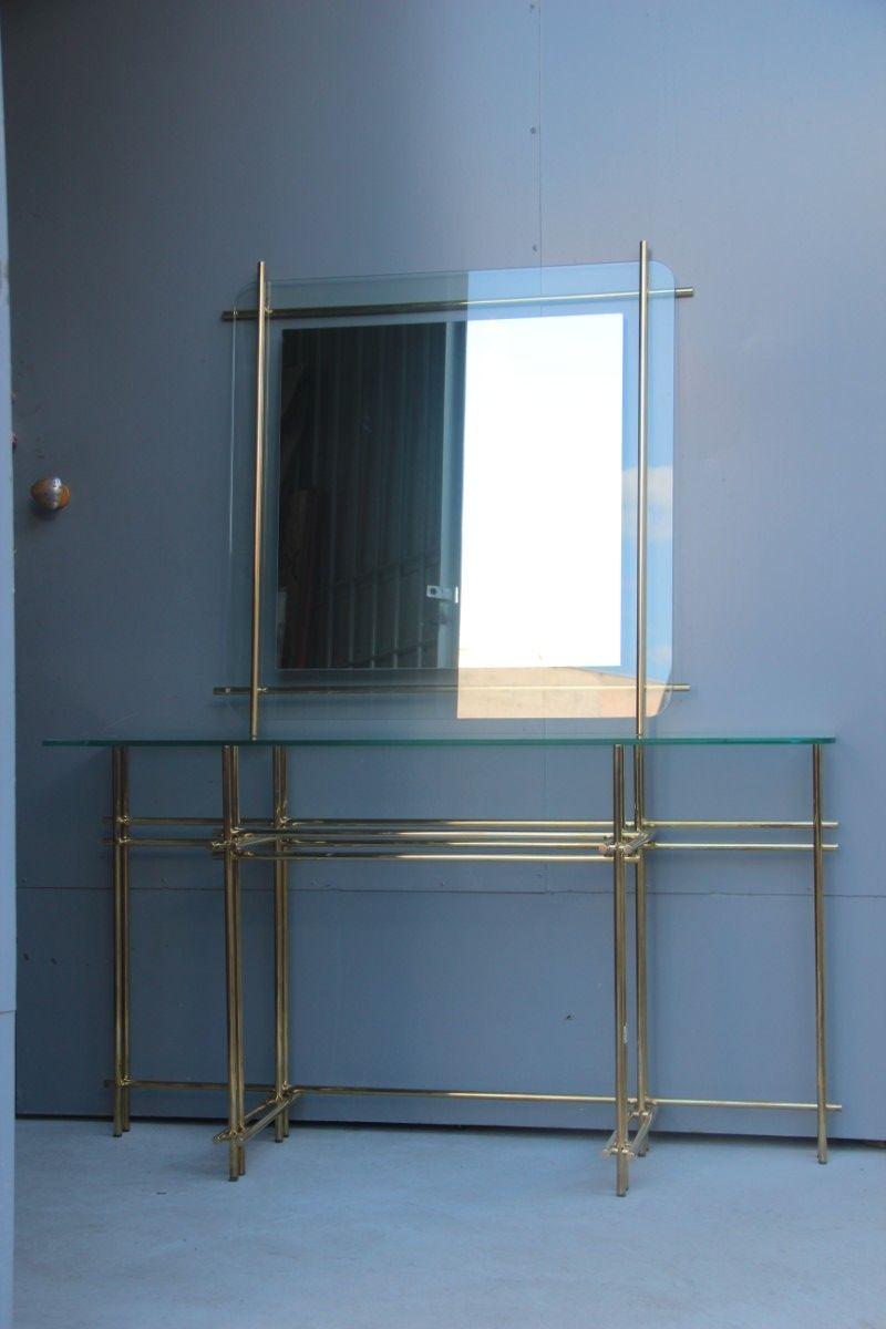 konsolentisch aus tubul rem messing mit spiegel von zevi. Black Bedroom Furniture Sets. Home Design Ideas