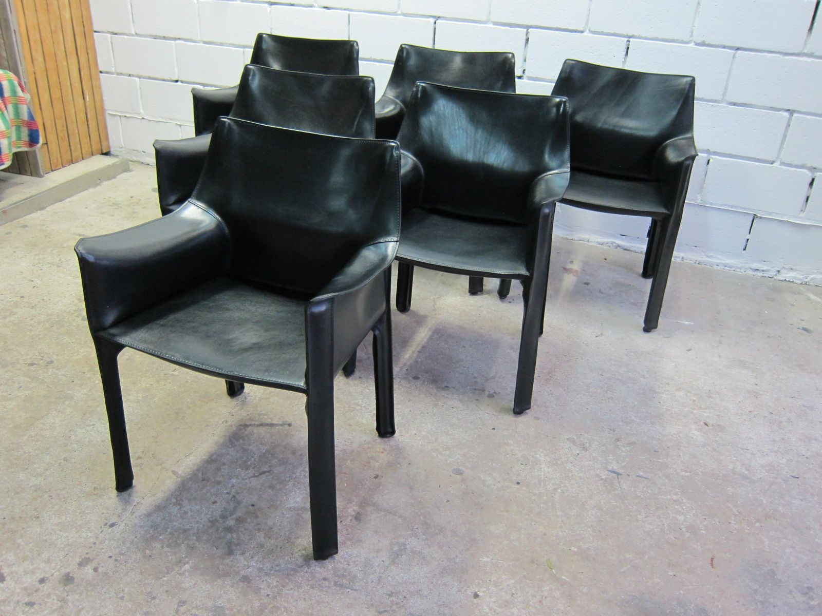 CAB 413 Chairs by Mario Bellini for Cassina 1980s Set of 6 for