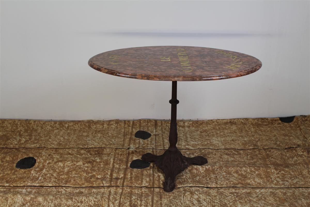 Antique Marble And Cast Iron Bistro Table