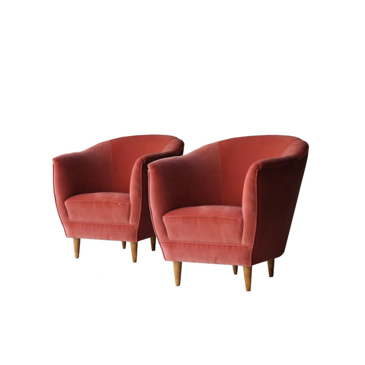 italienische sessel aus korallenrotem samt 1950er 2er. Black Bedroom Furniture Sets. Home Design Ideas