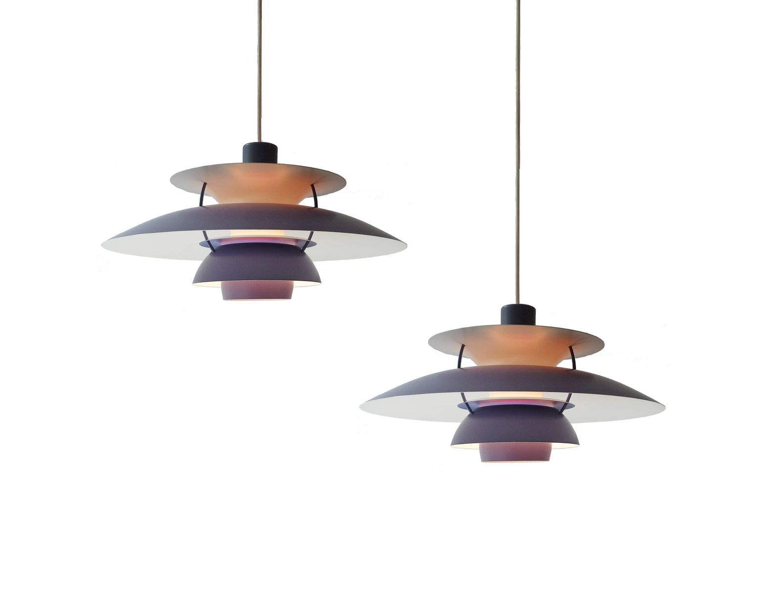 vintage ph5 violet pendants by poul henningsen for louis poulsen set of 2 for sale at pamono. Black Bedroom Furniture Sets. Home Design Ideas