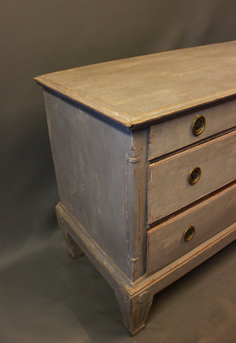 bemalte kommode in graublau 1790er bei pamono kaufen. Black Bedroom Furniture Sets. Home Design Ideas