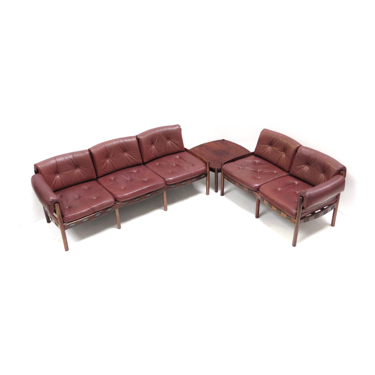 Mid Century Leather Corner Sofa With Table By Arne Norell