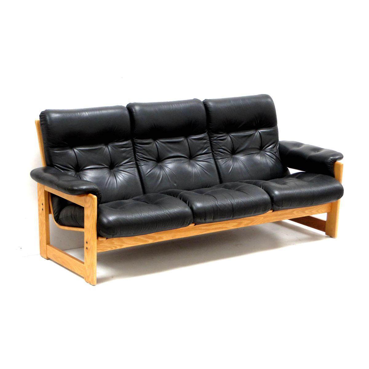 schwarzes vintage ledersofa bei pamono kaufen. Black Bedroom Furniture Sets. Home Design Ideas