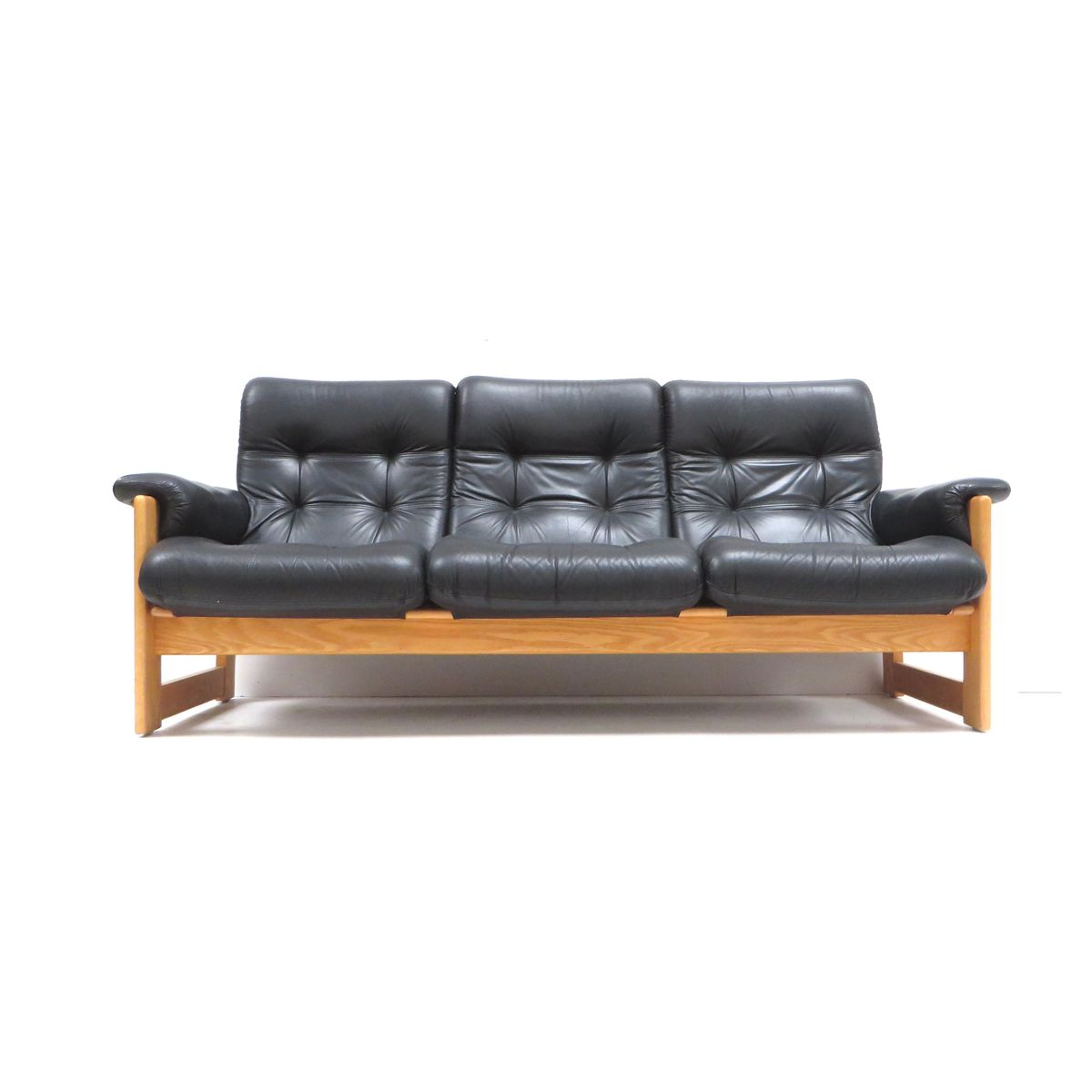 Vintage Black Leather Sofa For At Pamono