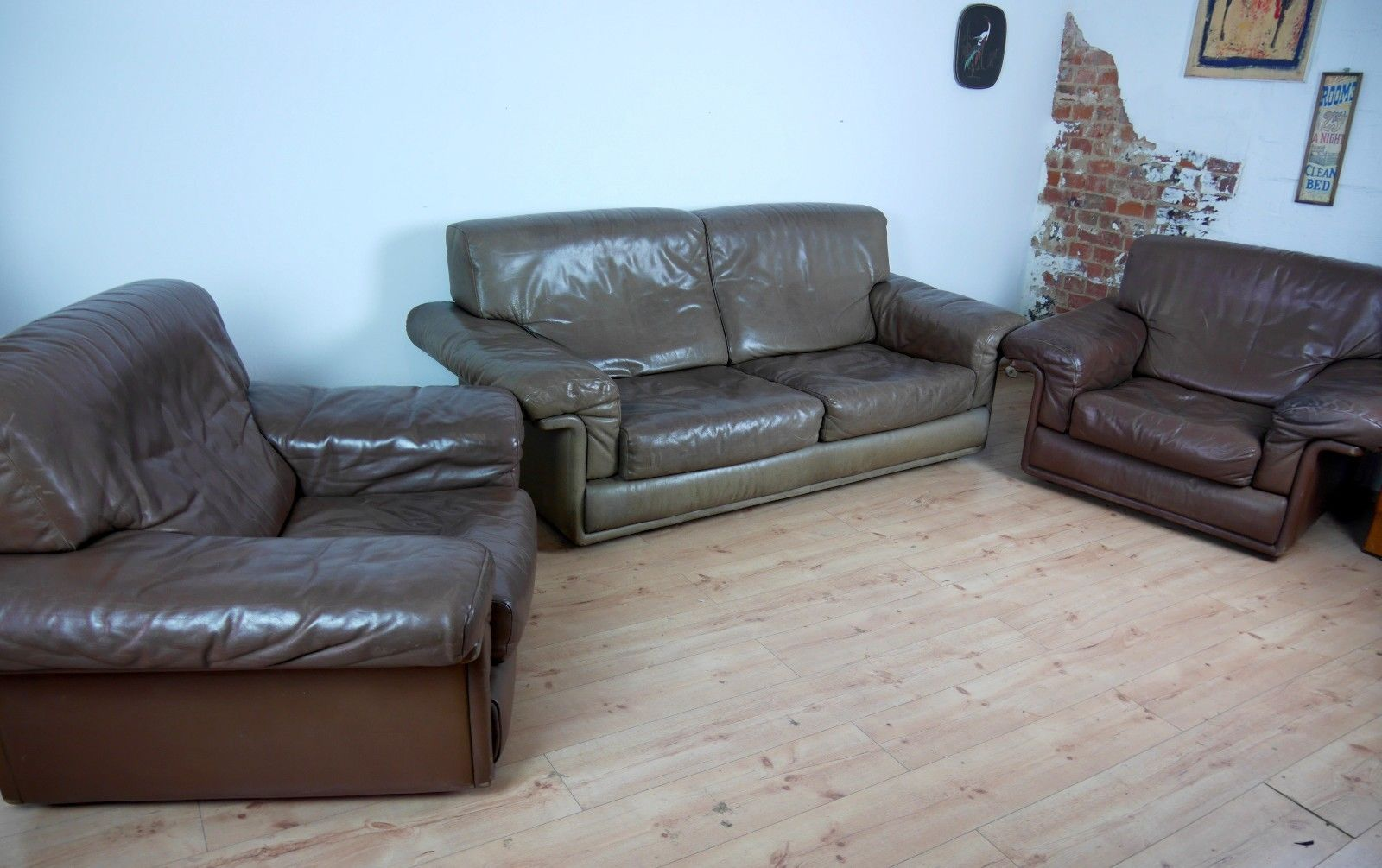 DS 68 Leather Sofa Set From De Sede, Set Of 3