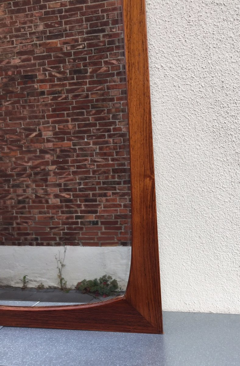mid century full size rosewood wall mirror by gelbjerg