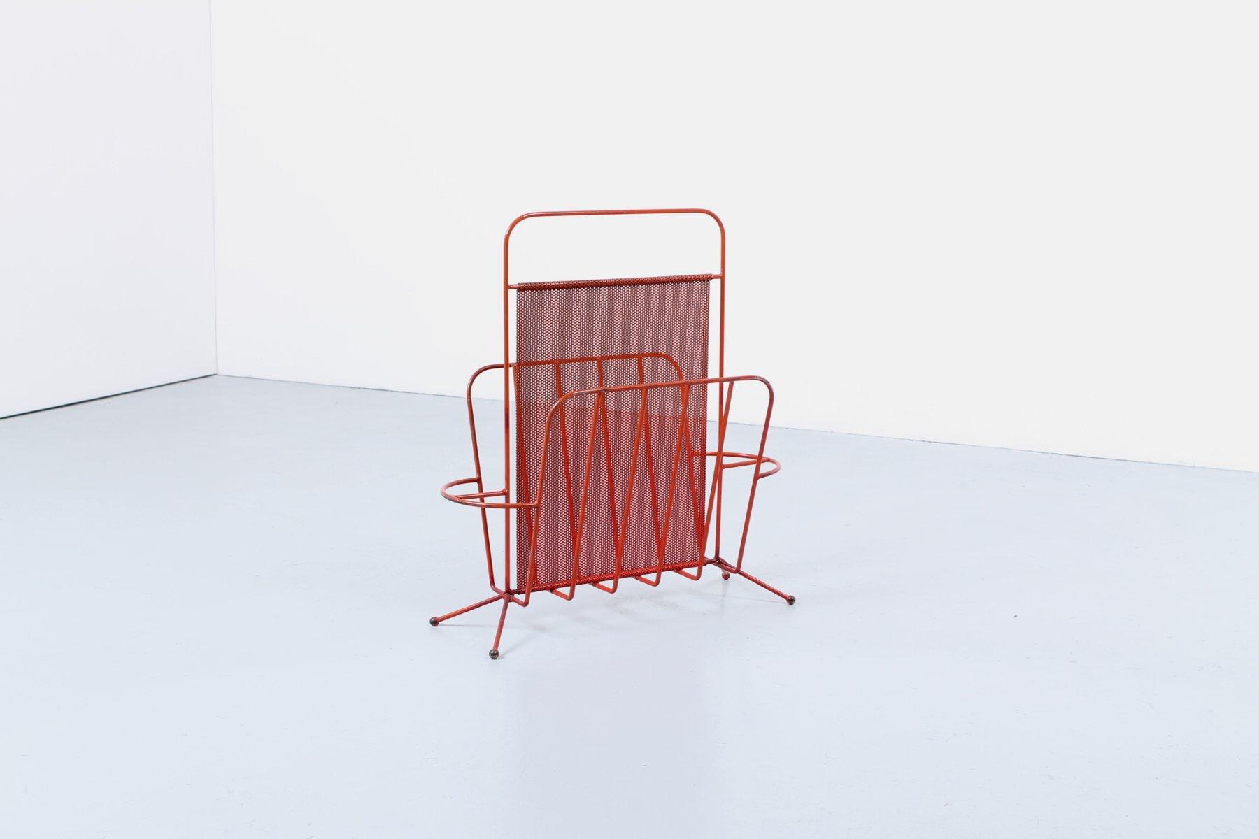 roter perforierter vintage metall zeitungsst nder von. Black Bedroom Furniture Sets. Home Design Ideas