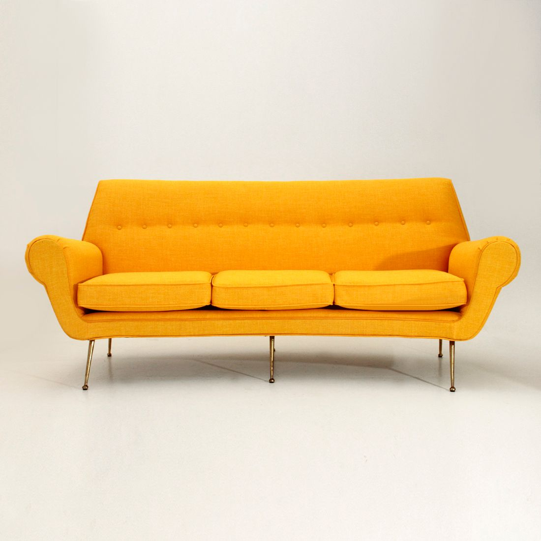 Italian 3 seater velvet sofa with brass feet 1950s for for 8 foot couch