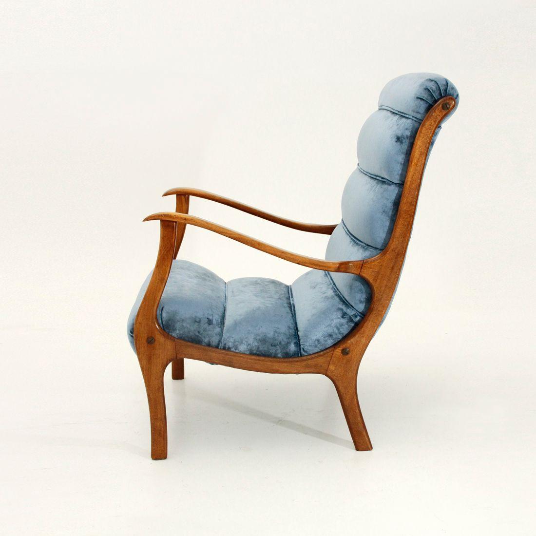 Mitzi Velvet Armchair By Ezio Longhi For Elam 1950s For
